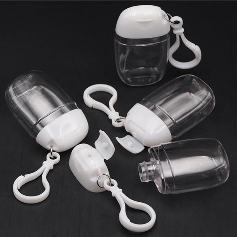 Anahtarlık Kanca Temizle Şeffaf Plastik Doldurulabilir Konteynerleri Seyahat Şişe Patry Favor YYA420 ile 30ML El Temizleyici Şişe