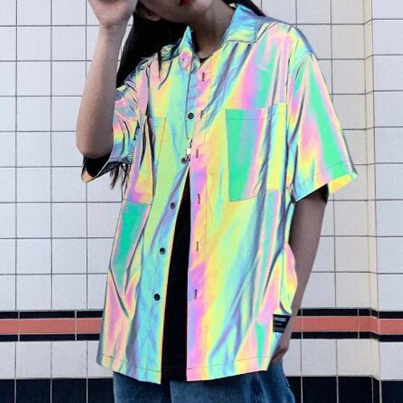 لربيع وصيف القمصان تعكس الرجال قميص قصير الأكمام الشارع الهيب هوب فاسق بلوزة رجل خمر قوس قزح عارضة ملابس عاكسة