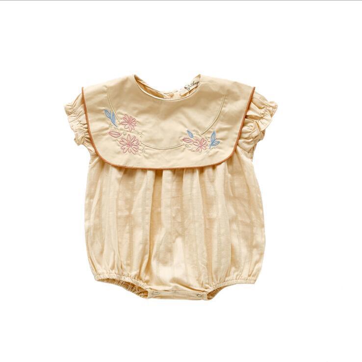 INS BABY ملابس أطفال بلا أكمام جولة الياقة مع زهرة التطريز رومبير 100٪ من القطن طفل تسلق الصيف فتاة رائعة رومبير