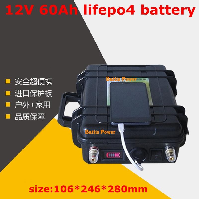 12v 60ah Lifepo4 Battery Pack 12V Built In Bms with Waterproof ABS Case for 1200W Electric Car E-scooter,e-motorcycle+5A Charger