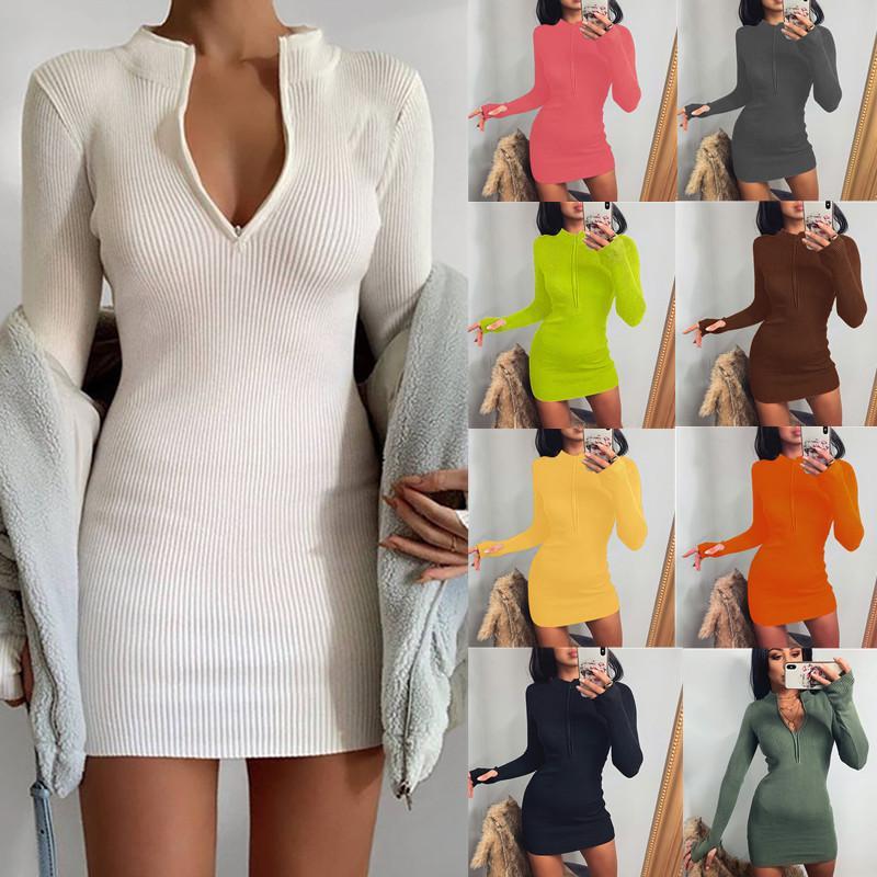 9 컬러 S-5XL 여성 지퍼 긴 소매 드레스 여성 롱 풀오버 탑 미니 Bodycon 드레스 62265133537847