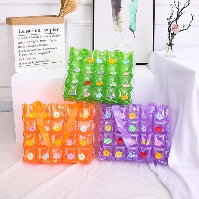 Складные сумки сумки сумка для женщин заполнены портативный водонепроницаемый пляж милый желе воздух из ПВХ ведро конфеты шоппинг мода плечевая тока докри