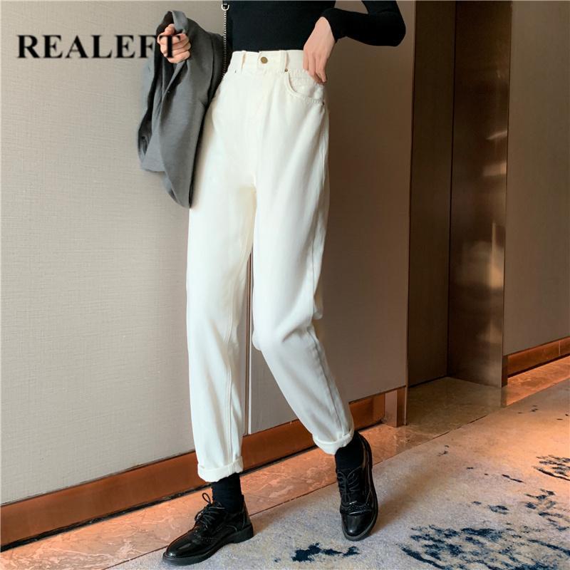 REALEFT otoño invierno del color blanco recto Pantalones vaqueros de cintura alta pantalones vaqueros flojos de Corea del estilo casual bolsillos del pantalón largo