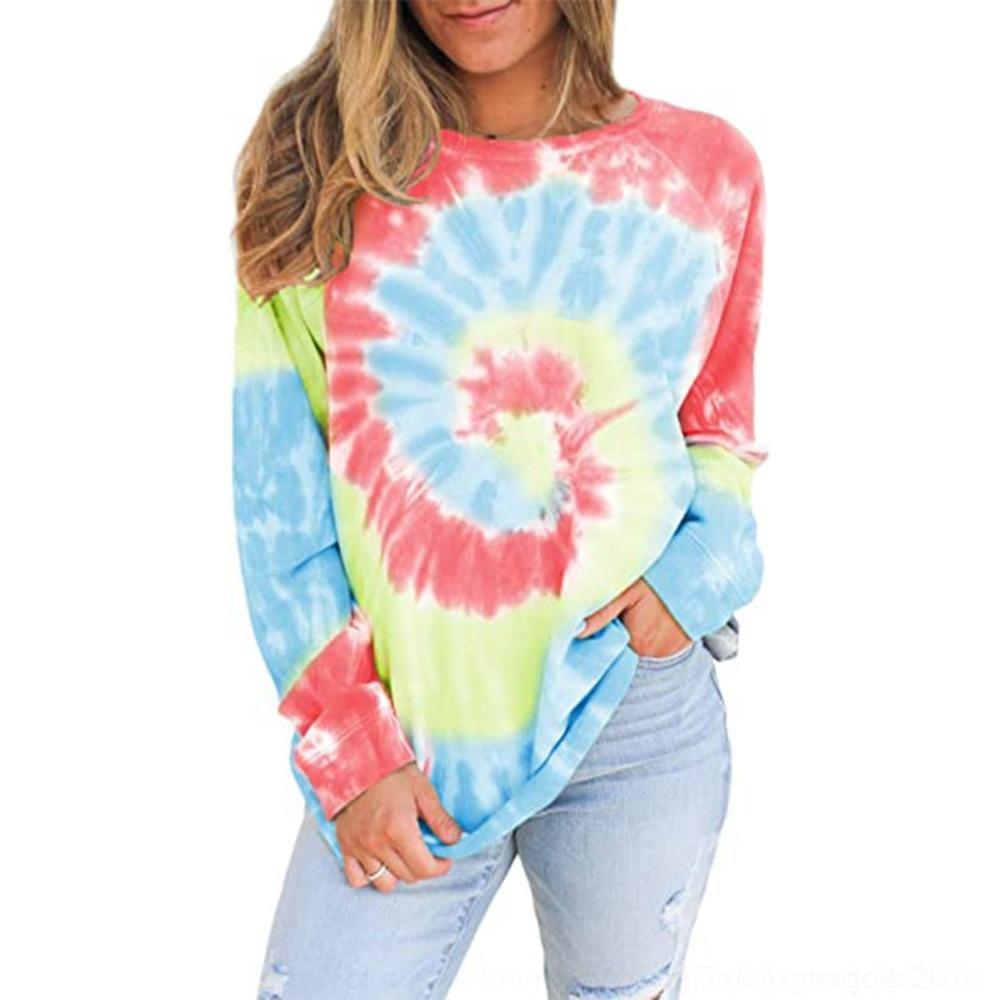 manica maglione Wytxr f0z8Y lungo Top girocollo stampata tie-dyed pullover superiore del maglione delle donne pullover perdere 2020