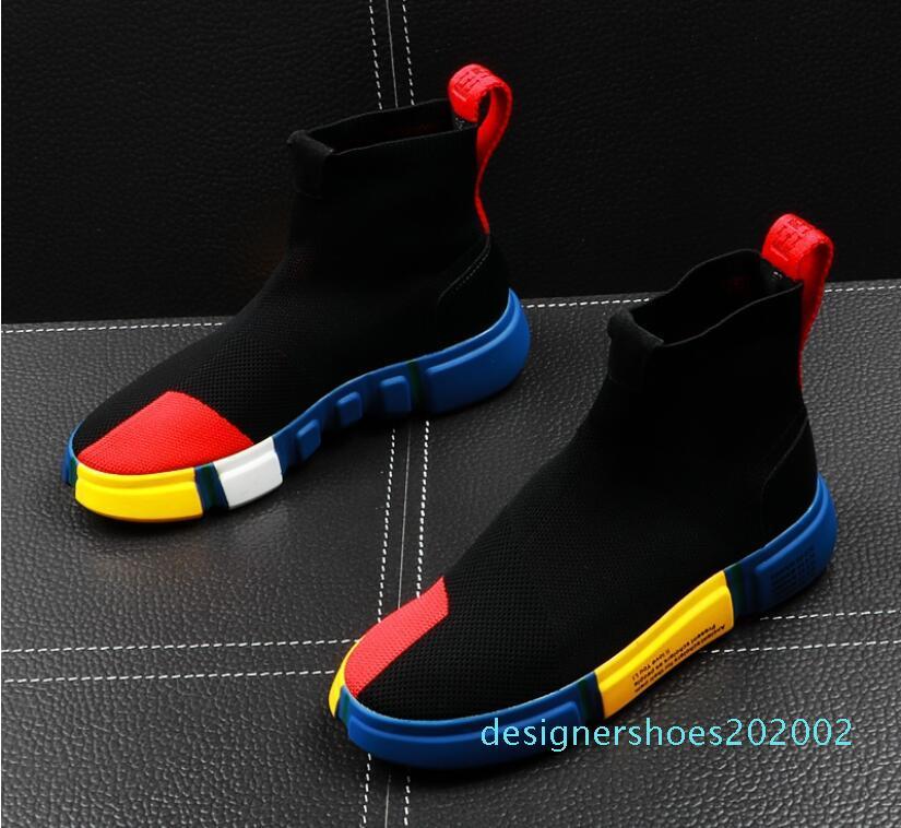 летние мужские высокие вершины носки обуви хип-хоп тенденция мужская обувь сетки мужская повседневная обувь Мужские кроссовки молодежные ботильоны f4d02