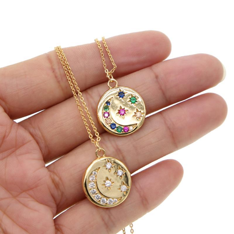 Estate Boho MoonMulti Stella Pendent collane d'oro della catena della collana della moneta di collegamento pavimenta Donne Accessori Cancella Arcobaleno CZ collo / Jewelry