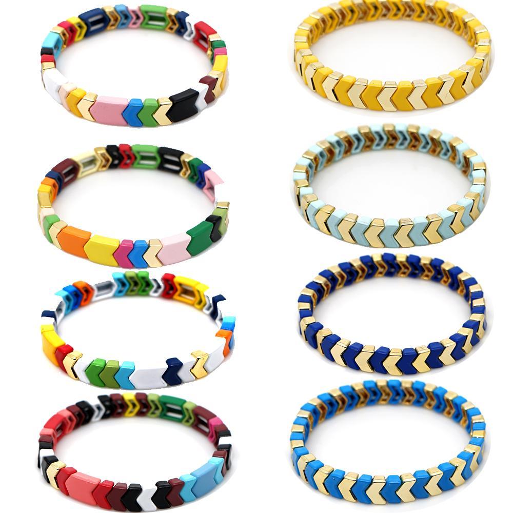 Shinus arco iris pulsera de las mujeres de 2020 nuevas del verano, pulseras de joyería esmalte Femme Bohemia multicolor Azulejos Beads Pulseras