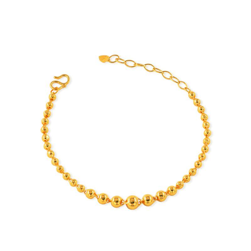 Твердые 24K желтое золото браслет 999 Золото Гладкая бисер браслет 7.60g