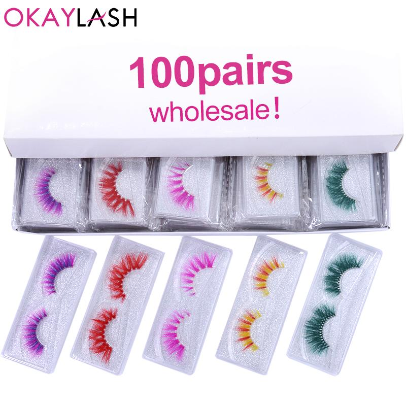 OKAYLASH 50 / 100pairs 3D Falsch Farbige Wimpern Großhandel Echt Mink Dramatische Fluffy Dense Farbe Regenbogen Lashes Großauftrag