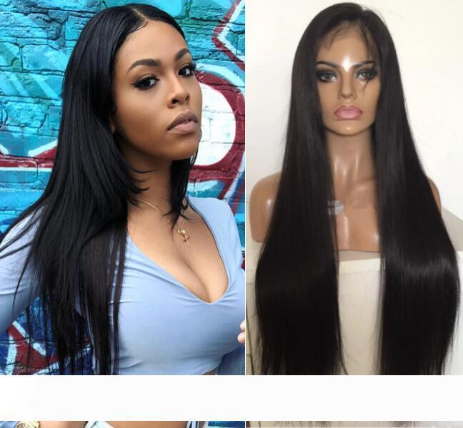 Volle Spitze mit PU um Perücken Europäisches Menschliches Haar Glattes Haar volle Spitze mit dünner Haut Perimeter-Perücke für schwarze Frauen-freien Verschiffen
