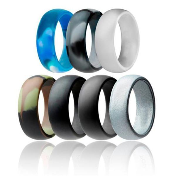 Anillo de bodas de silicona flexible de silicona junta tórica cómodos de la boda del anillo de ajuste para el hombre lightweigh multicolor cómodo para los hombres.