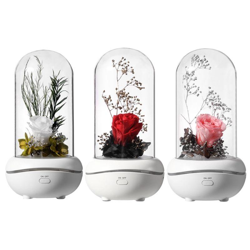 Eterno Rosa Aromaterapia Difusor de Óleo Essencial Aroma Aroma Humidificadores 7 Cor LED Night Light Office Home Carro Decoração de Carro Night Lamp Gift