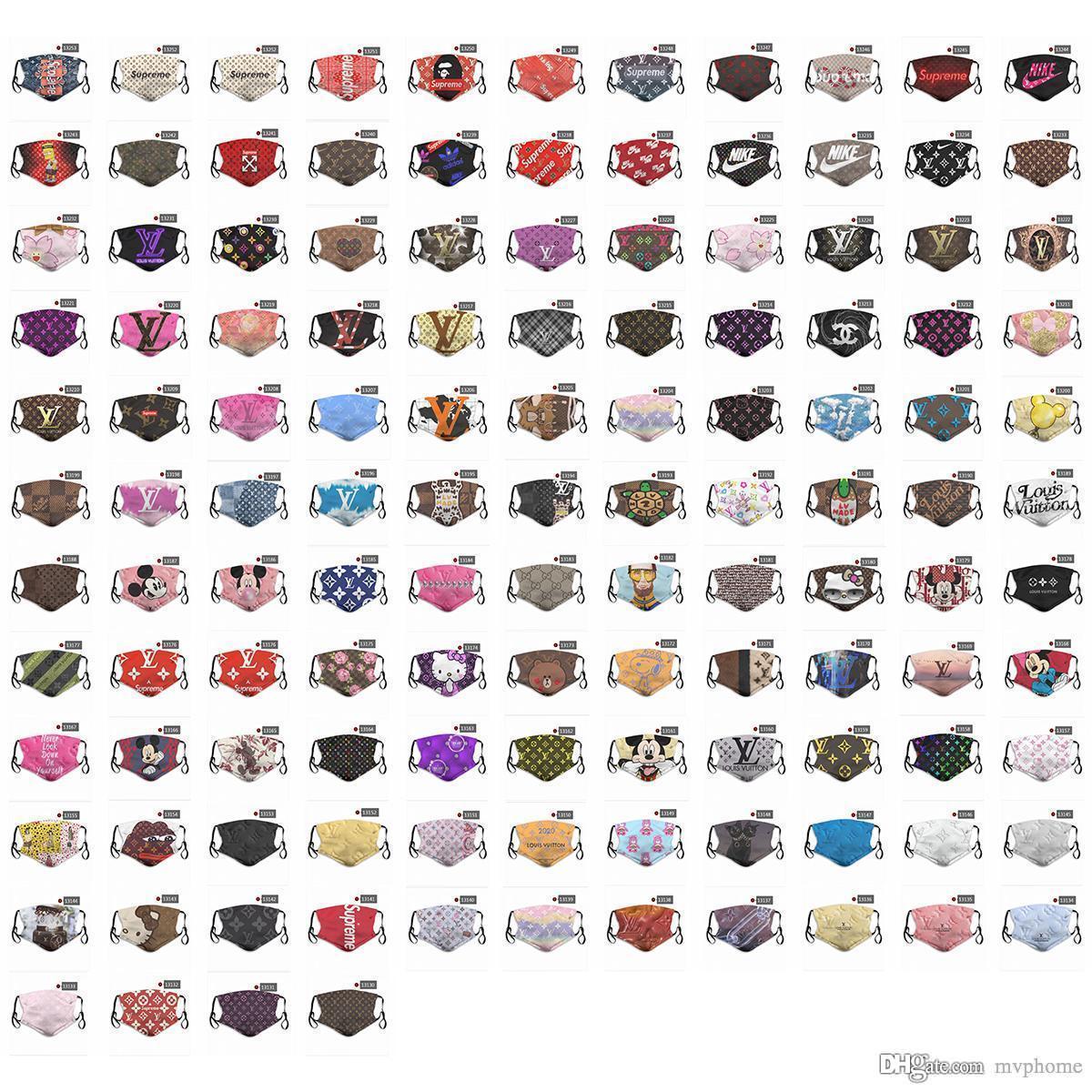 2020 neue 5-Schicht Staub Modedesigner-Gesichtsmaske Multifunktions Personalisierte atmungs Masken Sport Marke Muster Personalisierte Staubmaske