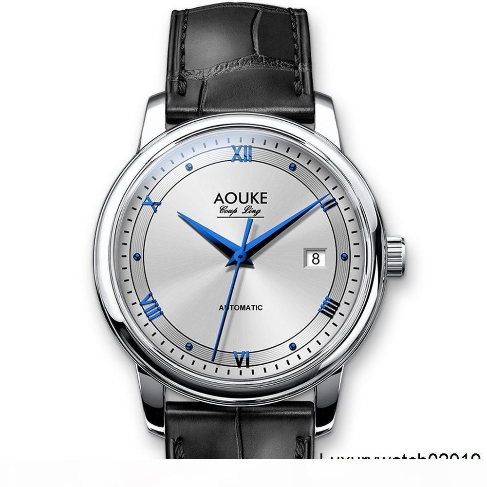 Mensautomatikuhr, kleiden Männer AOUKE Geschäftsmannes Armbanduhr wasserdicht mechanische montre homme Lederarmbanduhr
