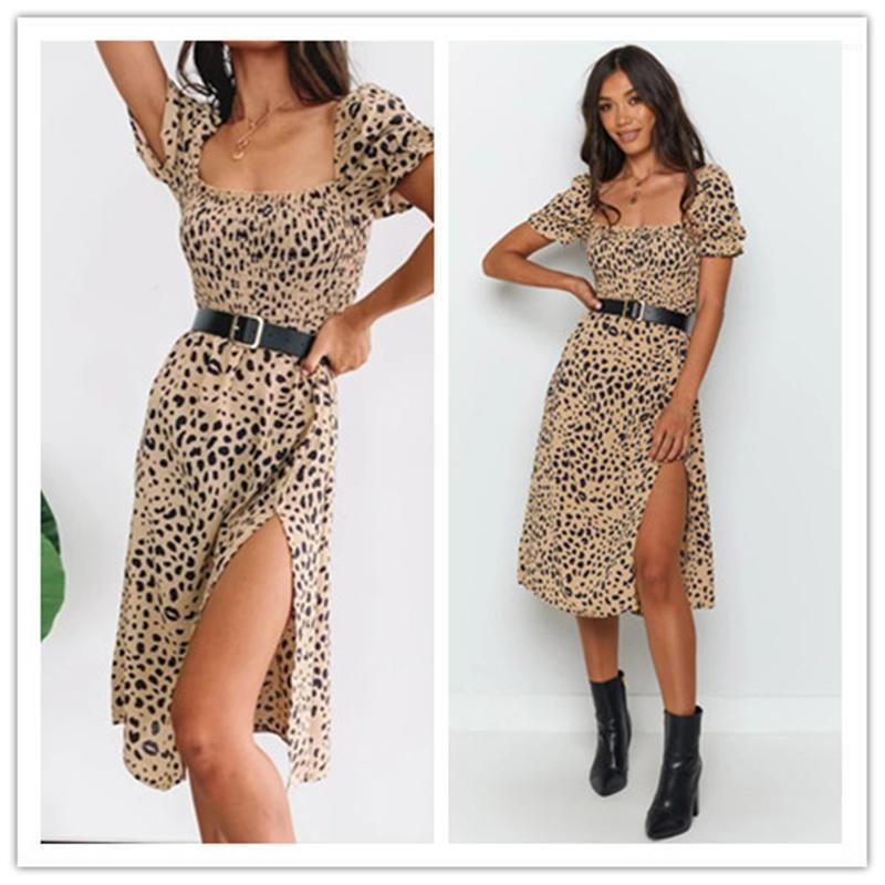 Abbigliamento per adolescenti Abbigliamento Piazza collo mini vestiti di Womens Split leopardo Desginer Womens Fashion Dress per le vacanze