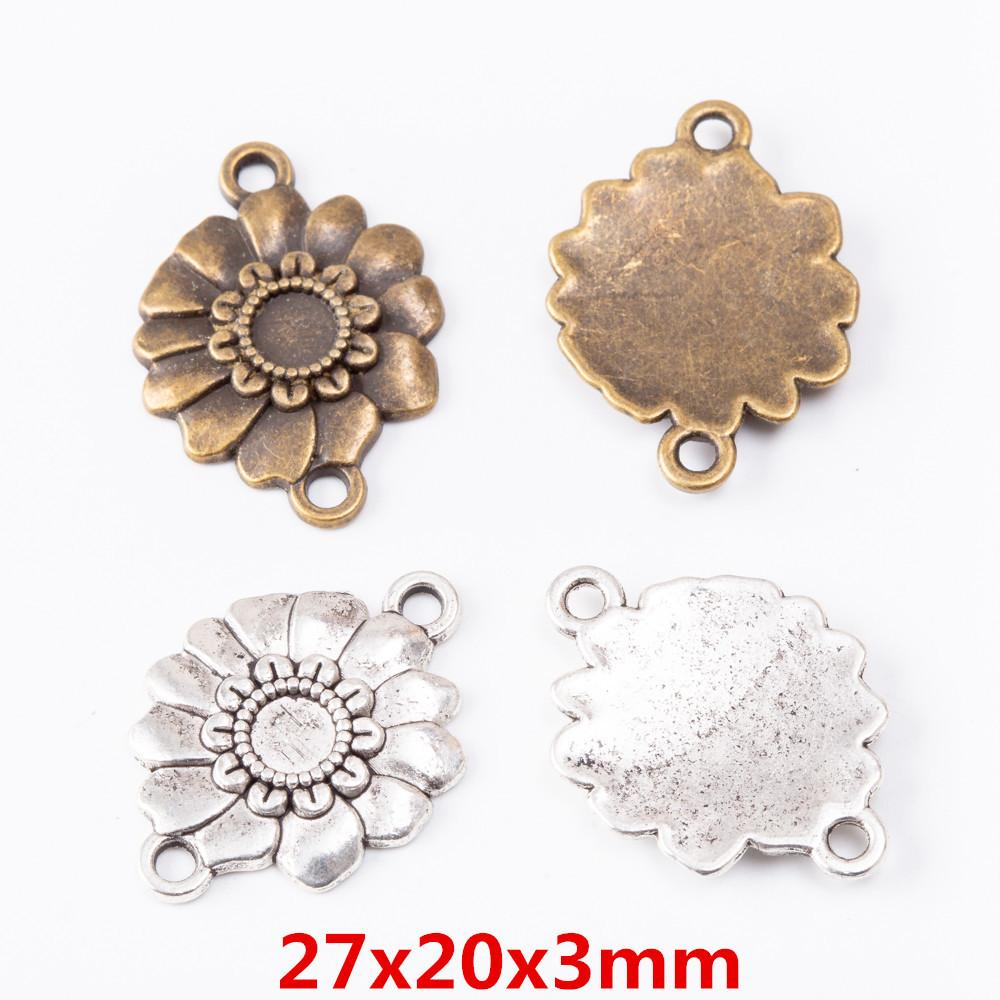 30pcs 27*20MM Antique silver color connector charms vintage bronze flower pendant for bracelet earring necklace diy jewelry