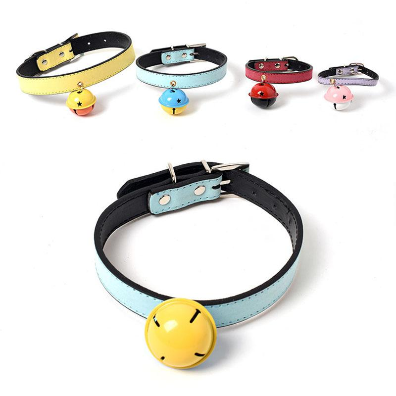 Puppy Dogs Necklace Pet Collars Bells Soft Leather Pet Dog Adjustable Collar With Bell 4 Size Fashion Leather Dog Cat Collars TQQ BH1540