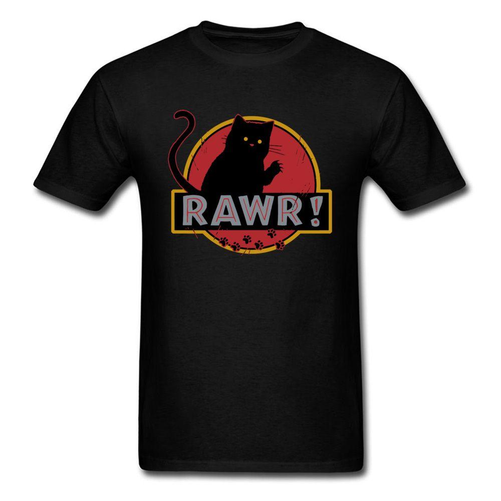 Cat RAWR nero maglietta rotonda del collare poco costoso divertenti vestiti annata di modo 100% Cotton Anime Top Tshirt maglietta da uomo normale