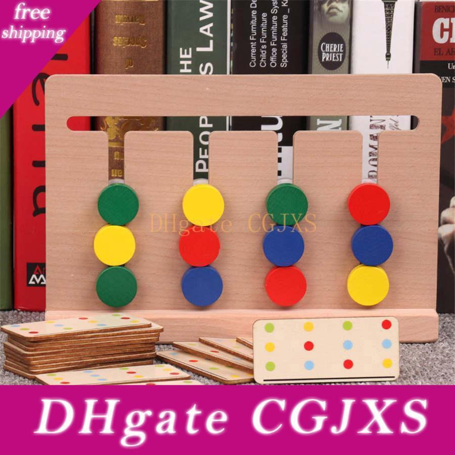 Crianças Montessori Brinquedos Educativos Quatro Jogo -Color Vermelho verde azul redondo pensamento lógico Training crianças brinquedos de madeira