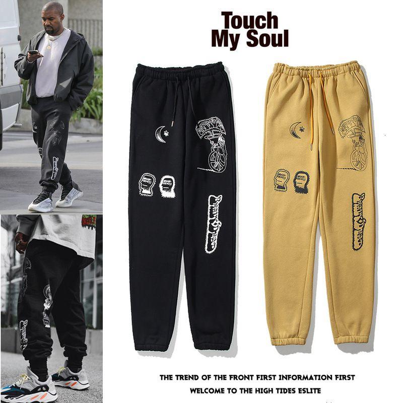 Kanye West Kanye stesso stile Dio pantaloni con graffiti cocco sciolto pantaloni della tuta casuali ON5T