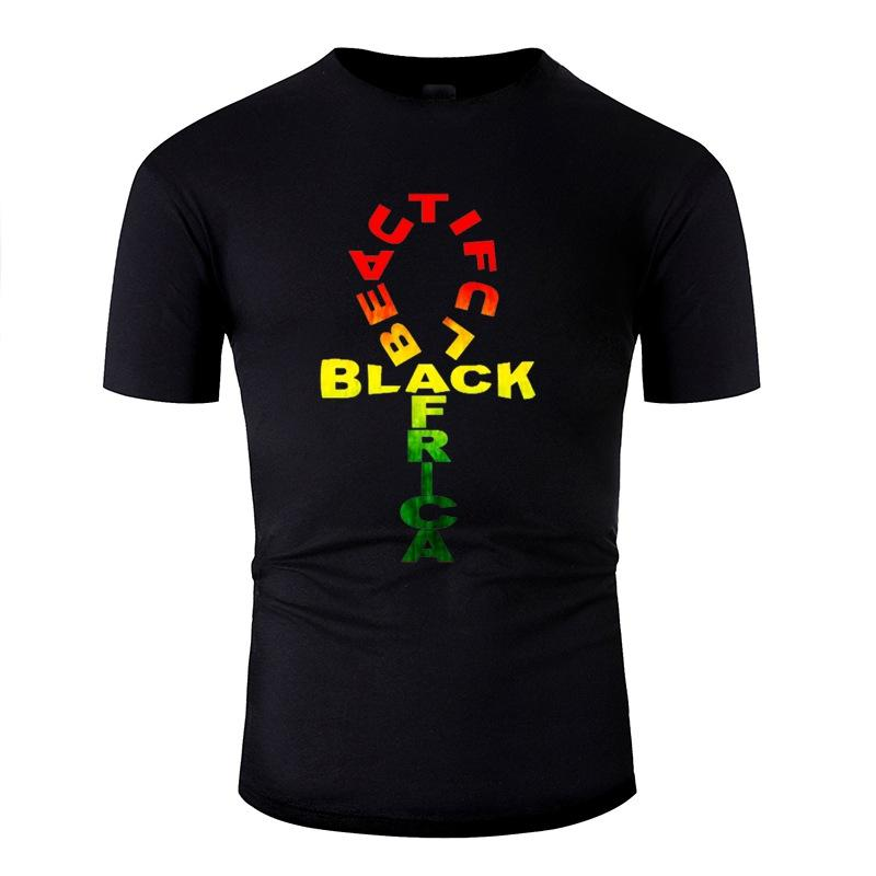 Louco Vintage verde África negra T bonito camiseta Homem anti-rugas novidade Homens T-Shirts em torno do pescoço de Streetwear