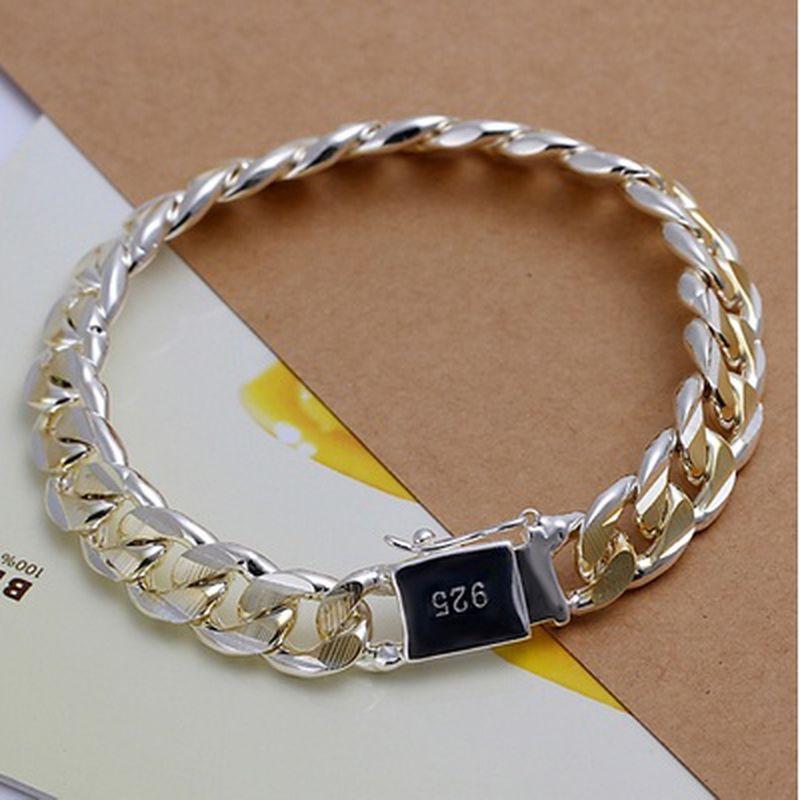 Cadenas de moda Figaro pulsera de la joyería masculina pulseras 925 Curb cadena de plata brazaletes cubana