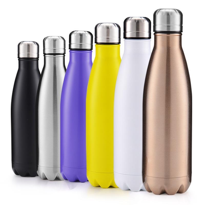 Cola Shaped Бутылка 500мл вакуумную изоляцию бутылки Спортивных бутылок 304 из нержавеющей стали Cola Bowling Форма Путешествие Кружка Free To Au