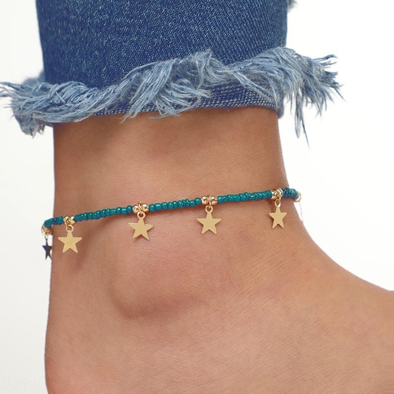 lD1aZ Новая мода свежей простой ручной рисовые шарики пятиконечная звезда сплава Подвеска кулон щиколотке ноги украшения