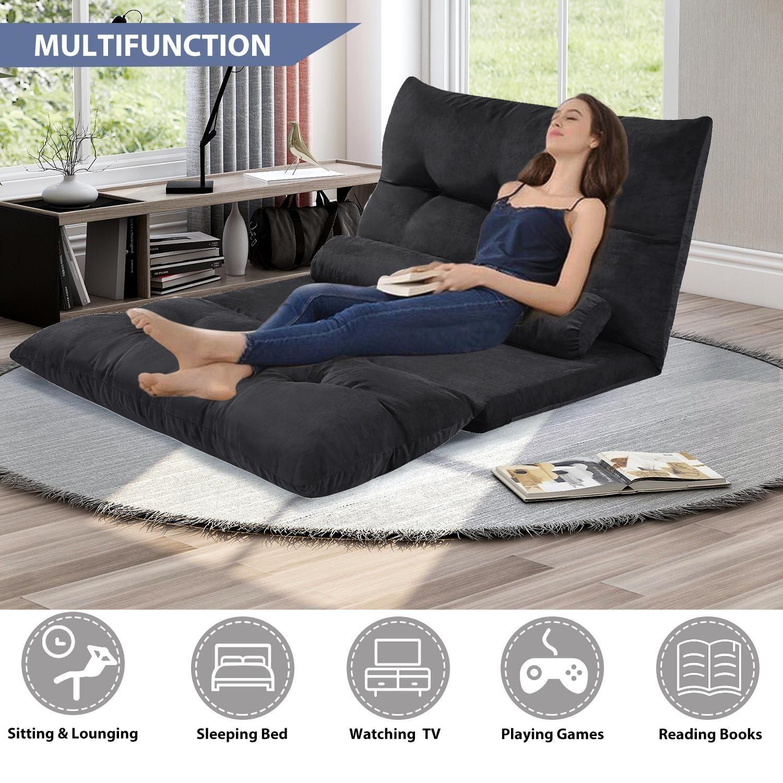 Stock américain, livraison gratuite oris fourrure. Canapé-lit réglable Futon Futon Vidéo Canapé Canapé Salon Sofa avec deux oreillers (Noir) WF015436BAA
