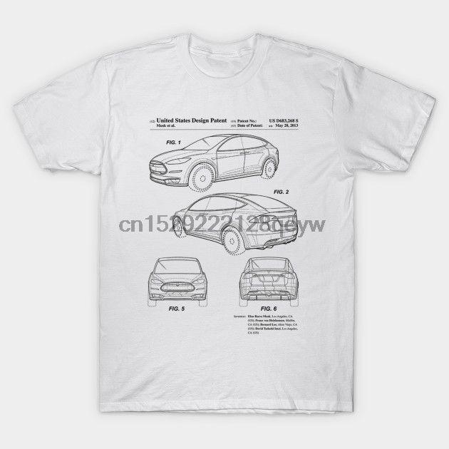 Männer T-Shirt Tesla Model X Patent schwarzes T-Shirt Frauen-T-Shirt