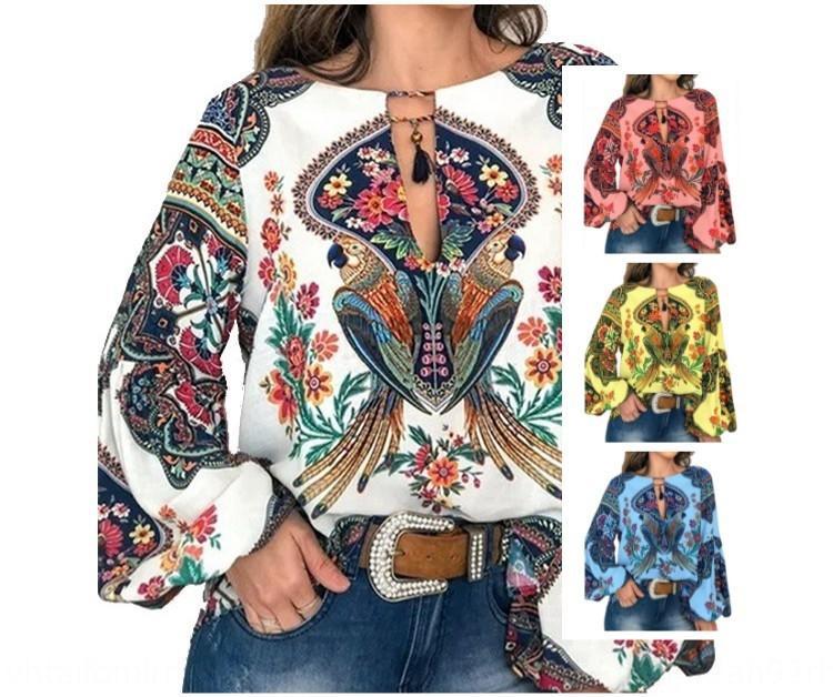 estilo étnico camisa Nacional de ropa de moda vTUIH nueva primavera y el otoño de las mujeres de la linterna fdeSN gran linterna de la manga tamaño impreso de la camisa larga s