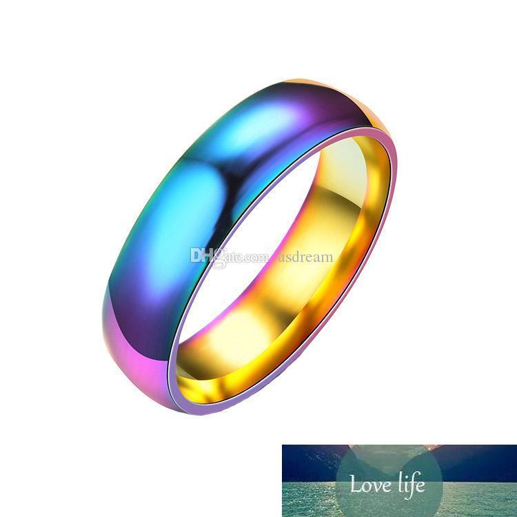 Anéis do arco-íris de aço inoxidável coloridos arco-íris do verão Anéis Banda mulheres moda jóias anel homens anel vontade e dom de areia
