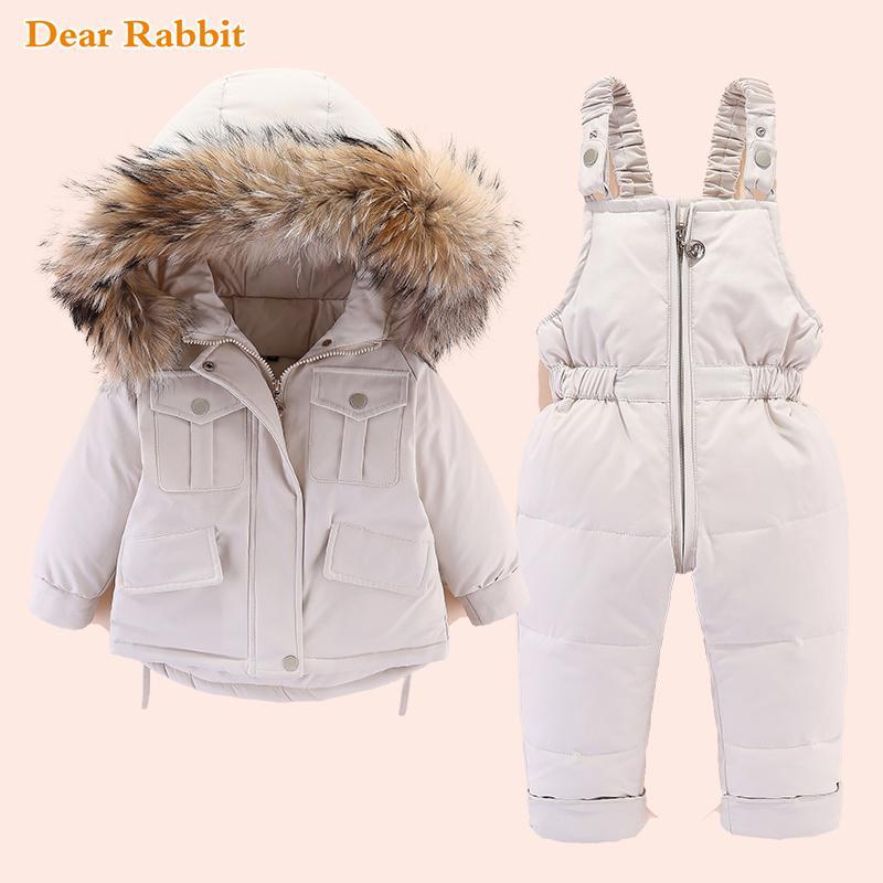 2020 Зимняя куртка вниз для девочек одежда Kids Комбинезоны детский зимний комбинезон Baby Boy над пальто малышей Новый год набор одежды утепленная натуральным мехом 0927