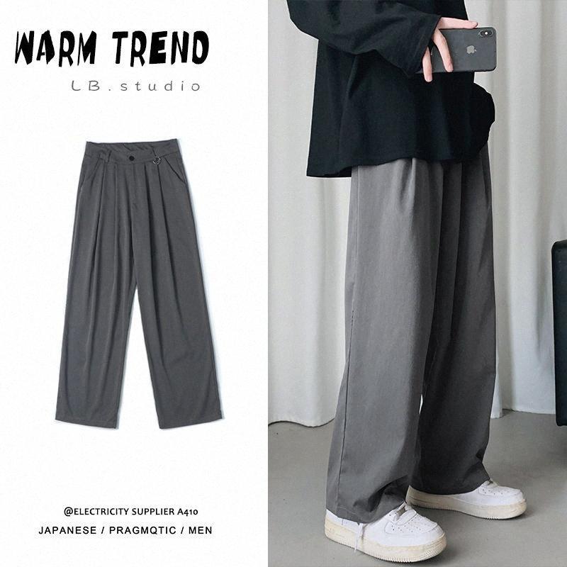 Düz Günlük Pantolon Erkek Moda Katı Renk İş Elbise Pantolon Erkekler Streetwear Vahşi Gevşek Suit Erkek Pantolonları M-2XL OjhP #