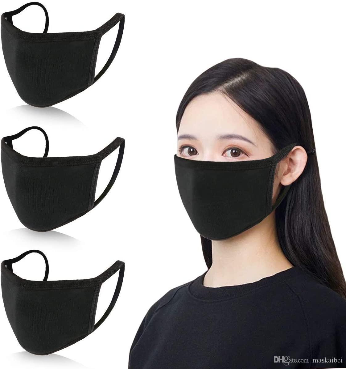 Designer anti-poeira Cotton Mouth Máscara Facial máscaras pretas de protecção Unisex descartável máscara da mulher do homem Vestindo preto Moda transporte rápido
