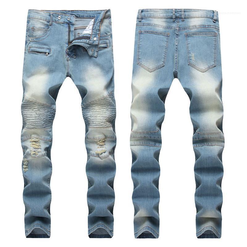 Designer Fold Bleu clair Pantalon droit Hommes moderne Slim longues Distrressed Jeans Mode Homme Vêtements