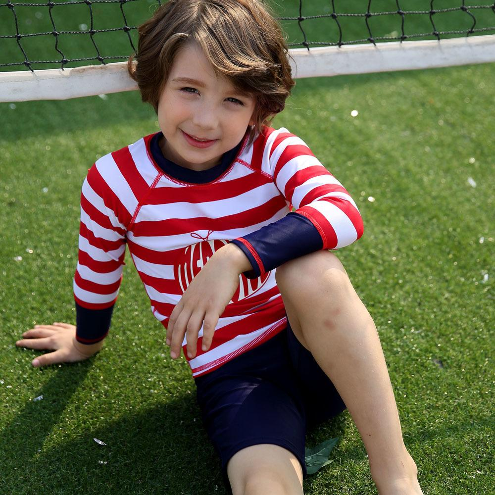 Lycra niños Skin Dive Niño Niña Rash Guard de protección solar UV UPF50 + Piscina infantil Trunks juego de la camisa del casquillo del traje de baño de 3 a 10 años