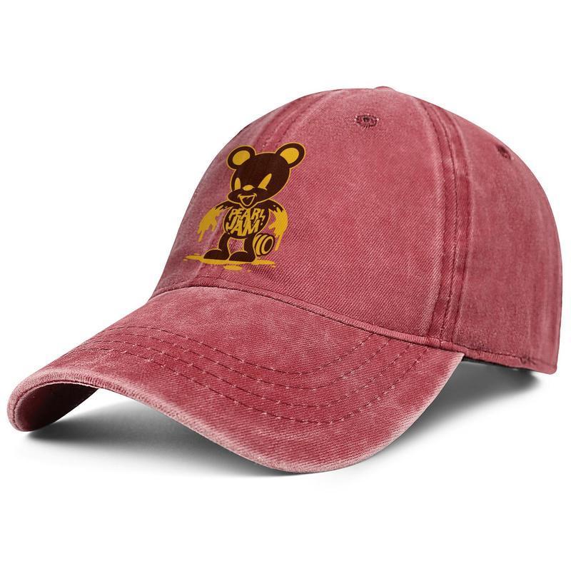Gorra de béisbol del dril de Moda Hombres Mujeres Pearl Jam Bear Cool lavada papá Sombrero negro de la bola de la vendimia ajustable