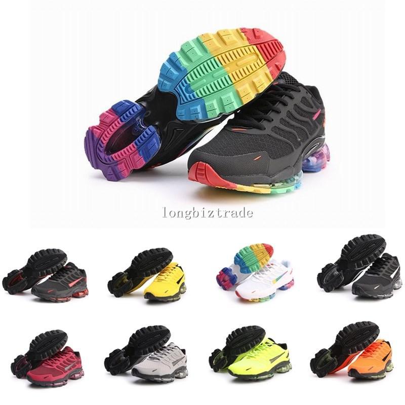 zapatos del amortiguador buque rápido KPU Airsmaxes arco iris para hombre amarillo transpirable plana zapatos corrientes de las zapatillas de deporte de las mujeres TN TN