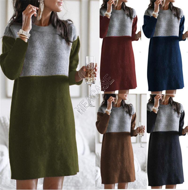 Ropa de invierno Suéter de mujer Nuevo estilo Falda empalmada suelta grande cuello redondo manga larga mujer vestido 5Color boutique S-3XL D82603