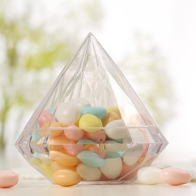 12шт Прозрачный ромб Candy Box Очистить пластиковый контейнер Box Пластиковая упаковка Креативный свадебный конфеты
