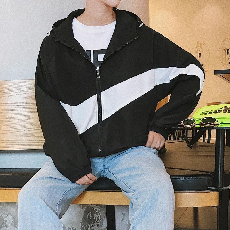 c6Oa1 2019 Sonbahar Yeni kukuletalı dikiş erkek moda ceket boyutu gevşek kişilik büyük ceket rahat