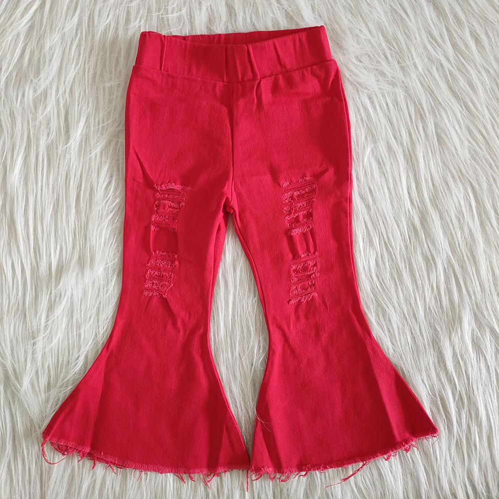 Hot sale baby girls denim bell pants wholesale boutique solid colour girls jeans toddler baby girls bell bottom jeans trousers kids jeans