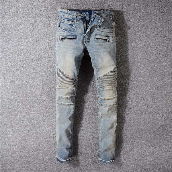 Les nouveaux hommes Fashion Jeans Pantalons Hip Hop Styliste Jeans Distressed Ripped Biker Jean Slim Fit Denim Jeans moto