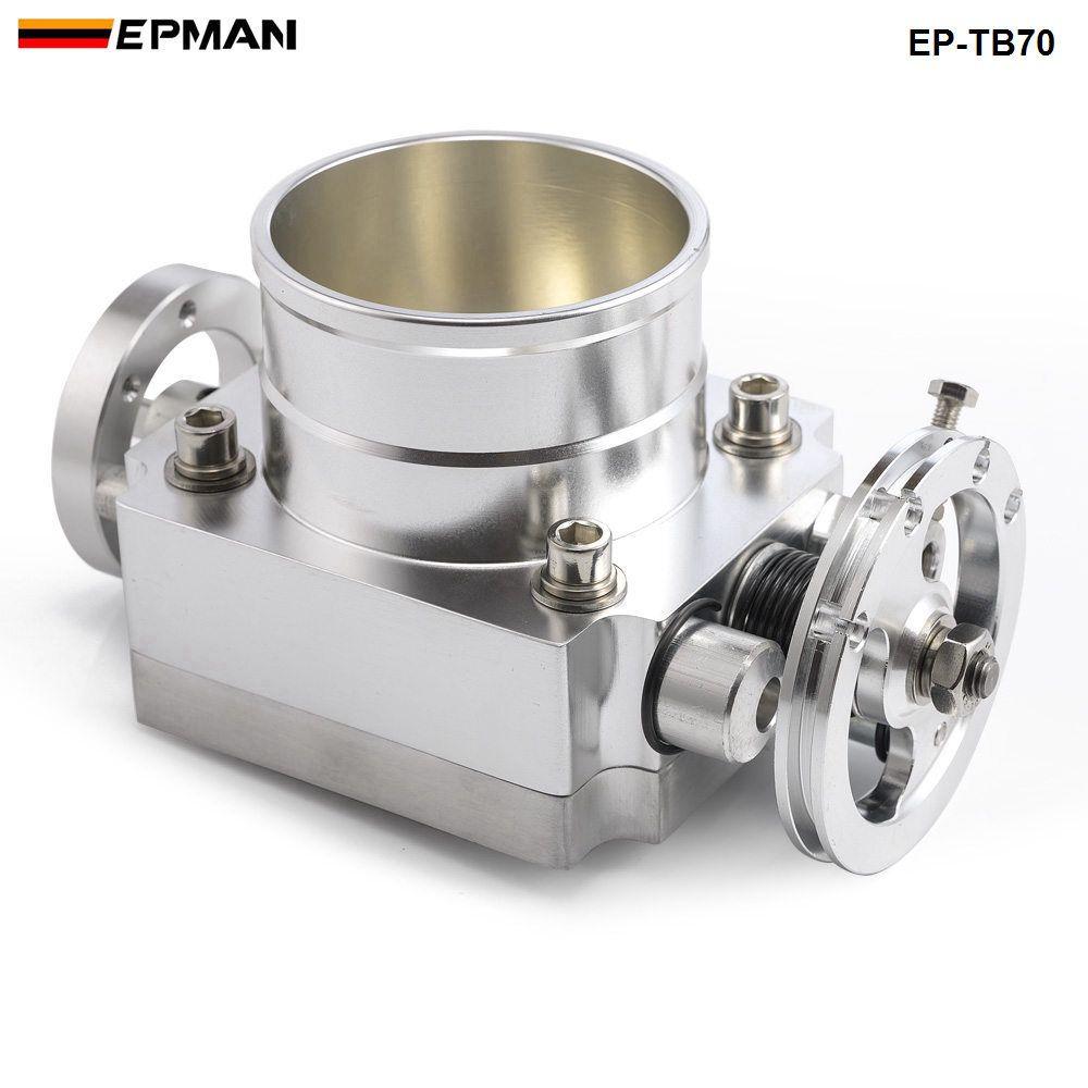 Tansky - Universal Uppgradering Aluminium Blå 70mm Gasspjäll Kroppsintag Manifold MK1 MK2 MK3 (Ony Silver Color) EP-TB70