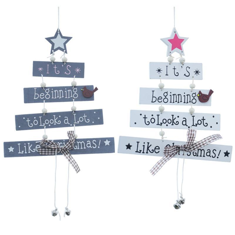 Ornamento di Natale appesi in legno Pendenti Stella di Natale Albero di Natale decorazioni per la casa festa di Capodanno Navidad