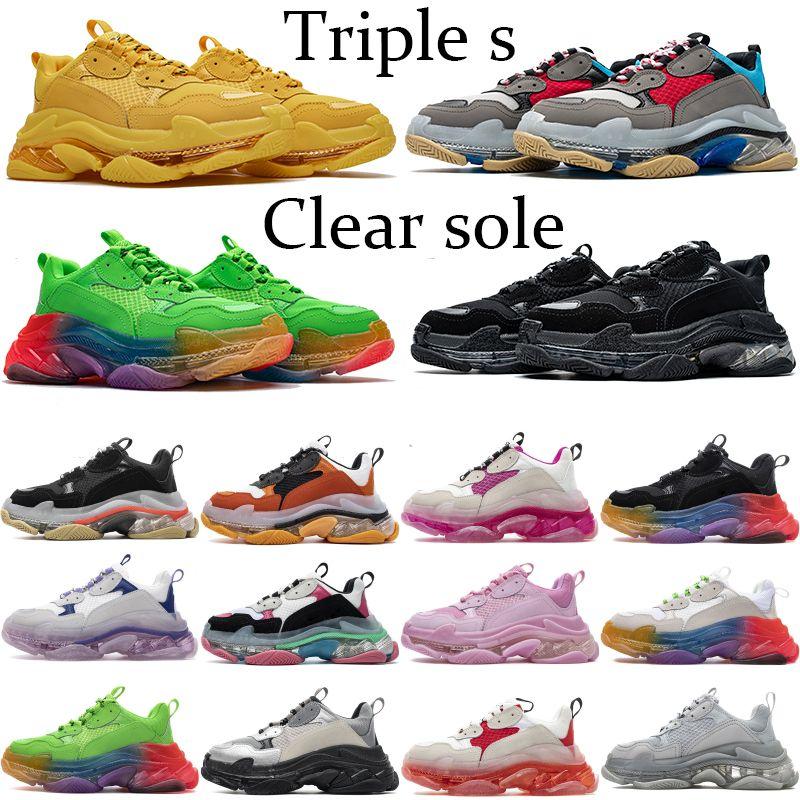 Clear Sole Paris Triple S Fashion Platform Sneakers 17FW Triple beige Green Neon Yellow Balck White gym red blue Party men women shoes