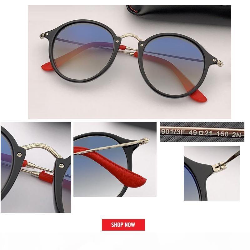 2019 round wholesale men brand designer sunglass circle sunglasses top quality brand designer sunglasses uv400 black lens gafas Brand New