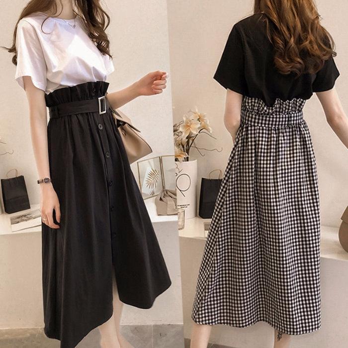 p03oA 1B3j8 l'été de femmes nouvelle grande taille 2020 style étudiant coréen T-shirt loose + costume à carreaux jupe costume à carreaux jupe ensemble deux pièces