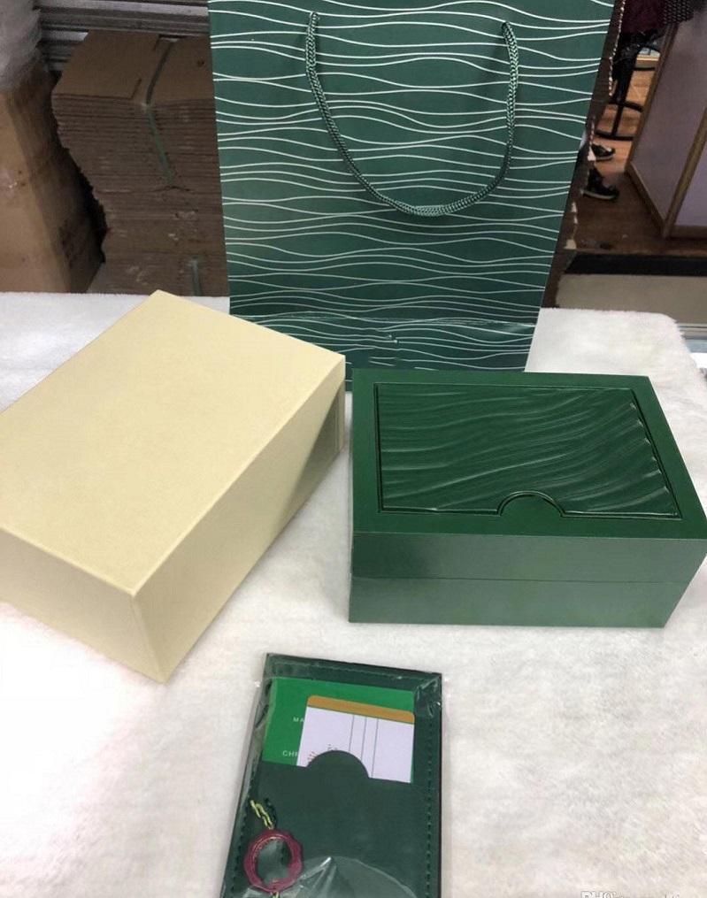 Mens Montre Boîte en bois Original Homme Montres Boxes Papiers Sac-cadeau Sac à bracelets de concepteur pour Rolex Mouvement autoamtique